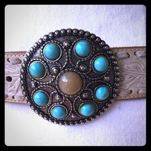 Women's leather Belt with Jewels buckle Size L